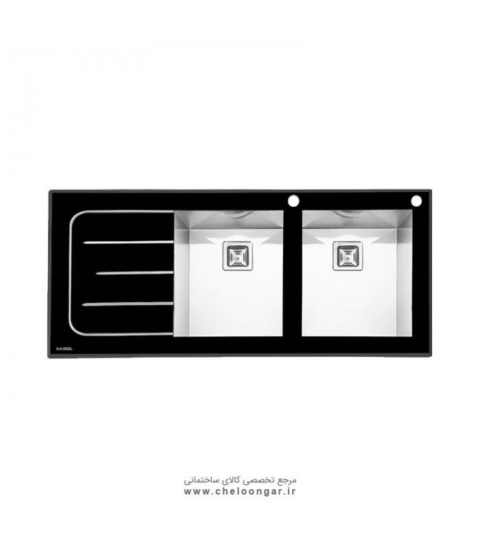 سینک ظرفشویی شیشه ای کد 8022 ایلیا استیل