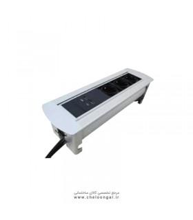 پریز برق الکترونیکی سه سوکت همراه با 2پورت (USBسیلور-مشکی) ادلان