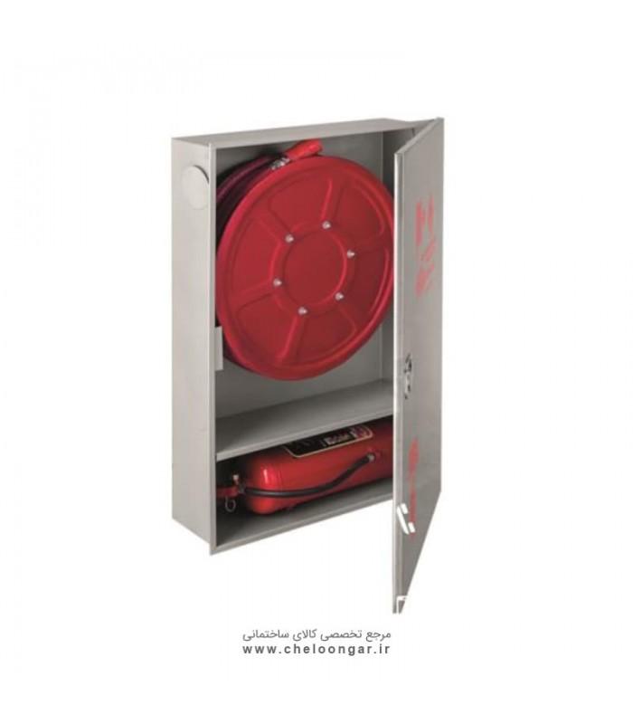 جعبه آتش نشانی درب استیل پیشرو عمودی (دو کابین تک درب)
