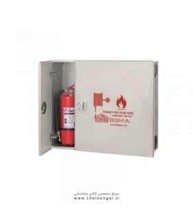 جعبه آتش نشانی درب استیل پیشرو افقی (دو کابین دو درب)