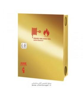 جعبه آتش نشانی درب استیل طلایی پیشرو افقی (دو کابین دو درب)