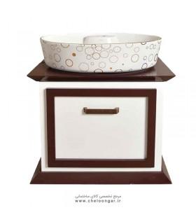 روشویی و کابینت TM مدل پارمیس سفید قهوه ای